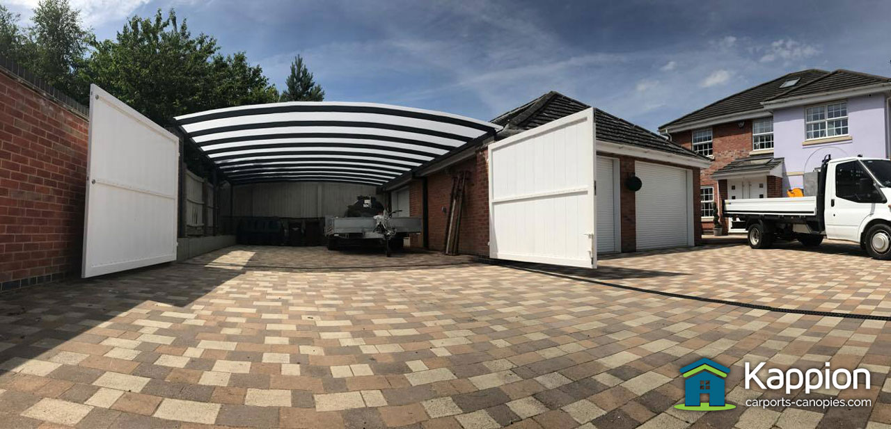 Garage attached double carport work area installed in for Garages and carports