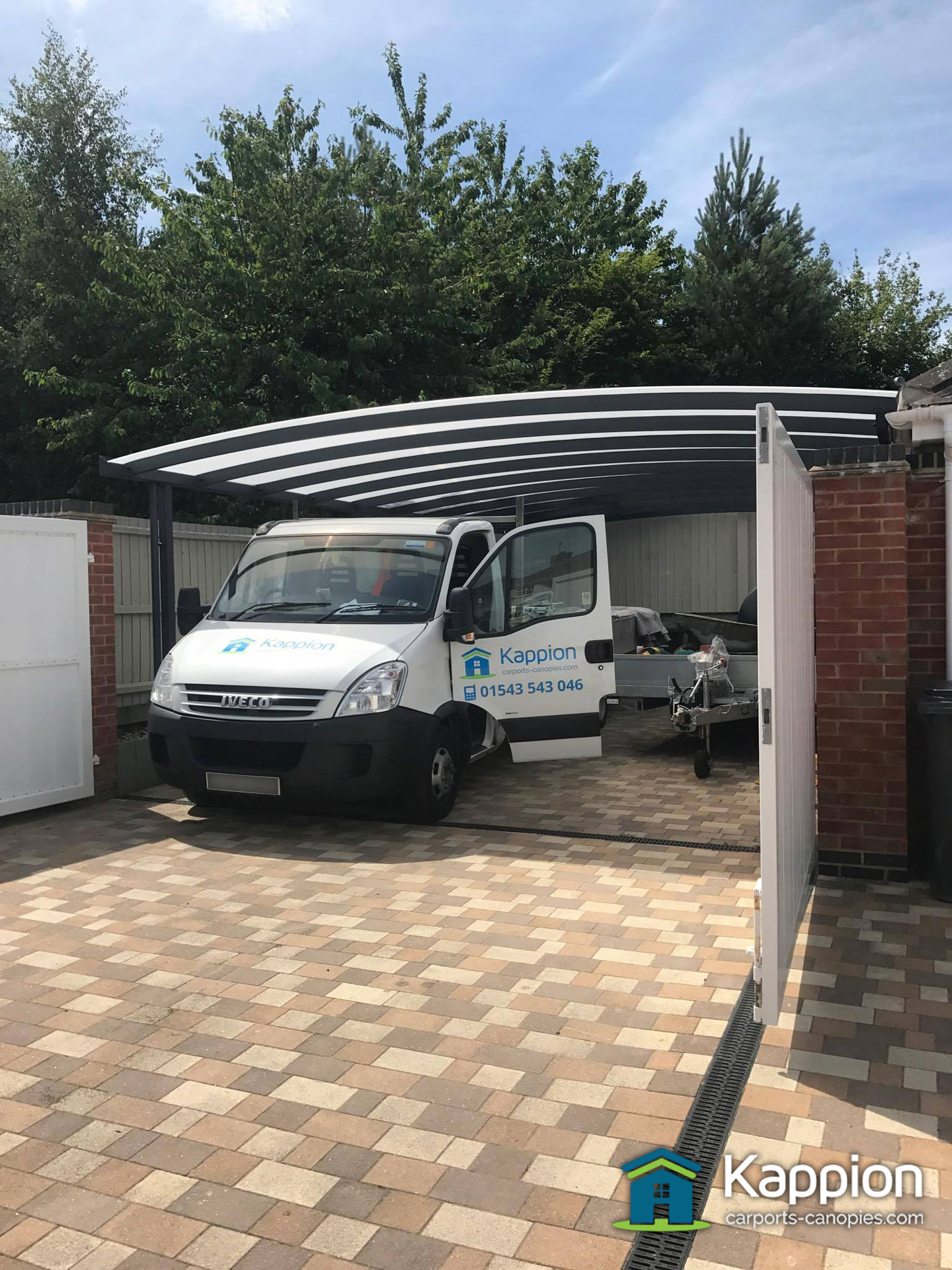 Garage attached double carport work area installed in for Garage car port